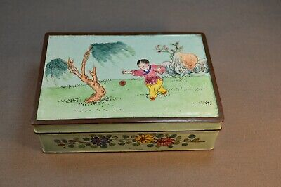 Antique Late 19th Early 20th c. painted Enamel  Metal Box W/ trays Girl & Ball