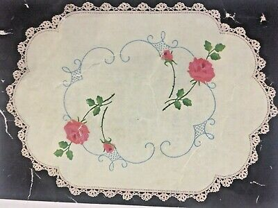 Vintage Stamped Myart Linen To Embroider a Traycloth  #1609  ❤️ Rose Dimity ❤️