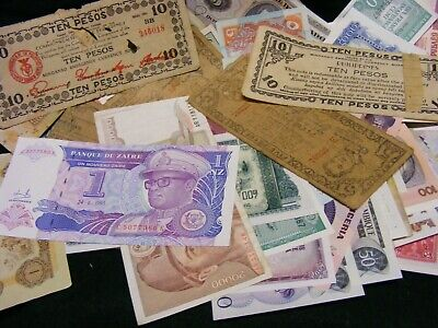 Lot of 100 World Banknotes,used & unused. Wide Variety,conditions,Re-sellers.(B)