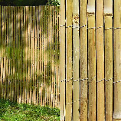 4M Slatted Bamboo Fence Screening Roll Natural Slat Panel Privacy Garden Penal