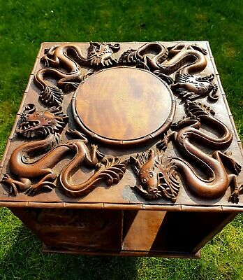 Small Chinese Revolving Bookcase , Highly Carved Walnut