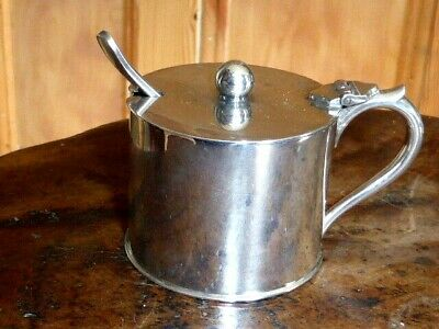 Great Antique Silver Plated Mustard Pot by Fenton Bros, Sheffield, c1900