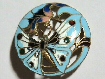 Antique Pierced Champleve Enamel Butterfly Button, Mostly Turquoise