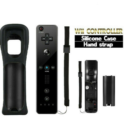 For Nintendo Wii & Wii U Remote Controller + Silicone Cover + Strap Black New Uk