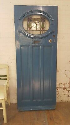 1920s 30s Exterior Front Door Stained Glass Salvage