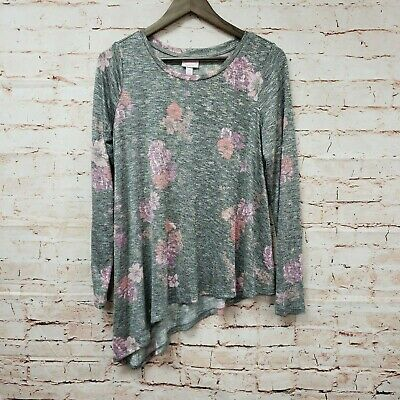 Isabel Maternity by Ingrid & Isabel Womens Sweater Sz S Gray Floral Asymmetrical