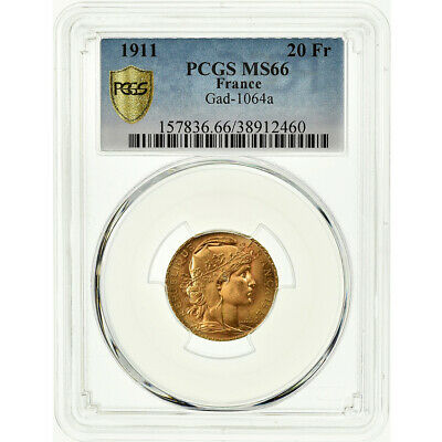 [#486311] Coin, France, Marianne, 20 Francs, 1911, PCGS, MS66, Gold, KM:857