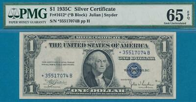 $1.00 1935-C Star  Scarce  Silver Certificate Pmg Choice New 65Epq