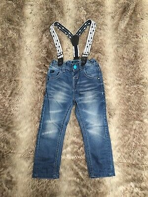 NEXT Baby Boy Light Blue Jeans With Stars Braces. Distressed Ripped. 18-24months