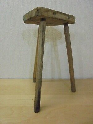 Vintage 3 Legged Pine Work bench Stool- great looking age related ware