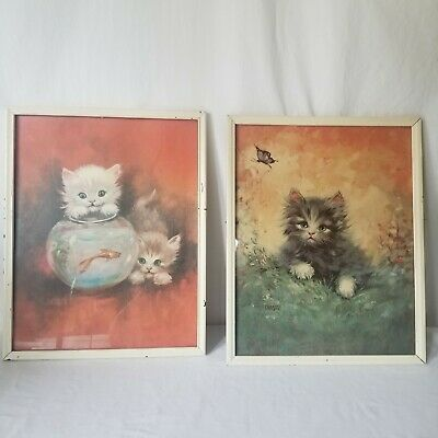 Vintage Framed Florence Kroger Kitten Lithographs Prints Fluffy Cats Lot Of 2