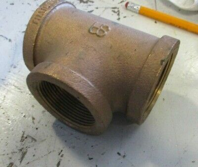 """Brass Tee 1-1/2"""" 150 Threaded End Pipe Fitting"""