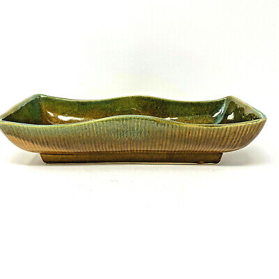Vintage Brown Green Ombre Planter Brown Ribbing Lines Outside Rectangular Curved