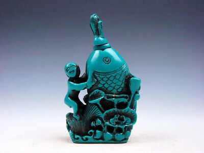 Turquoise Glazed Baby Holds Carp Fish Lotus Carved Snuff Bottle #12161909