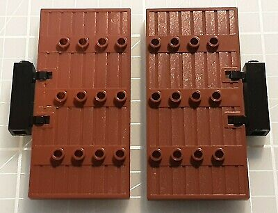 LEGO Stockade door gate 5x8.5 BROWN x2 with hinges castle dungeon large