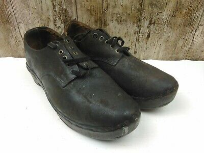 Very Vintage & Rare Mens UK 10 Wooden & Leather Dancing Clogs