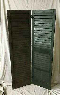 Pair Vtg House Window Wood Louvered Shutters 16x59 Shabby Old Chic Green 243-20B