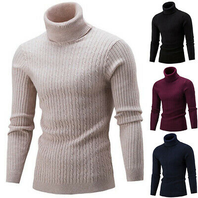 Mens Long Sleeves Acrylic Turtle Neck Turtleneck Sweater Stretch Jumpers Tops