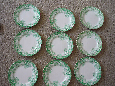 "Lovely Vintage Set Of 9 Paragon Bread & Butter Plates, 6"", Green & White"