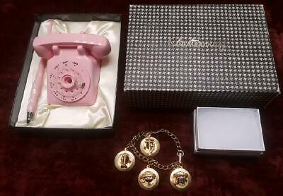 Rare Western Electric? Rose Pink Rotary Dial Desk Telephone Pen & Charm Bracelet