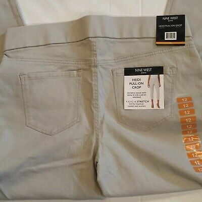 NWT Women/'s NINE WEST JEANS Travertine Heidi Pull-On Yoga Stretch Crop Pants 12
