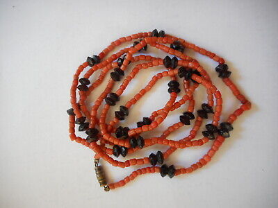 Antique 1860 salmon coral garnet hand carved beads necklace, 40 g