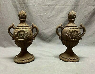 Pair Antique Cast Iron Urn Finials Fence Post Vtg Architectural Garden  82-20J