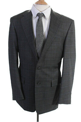 Hickey Freeman Mens Two Button Notched Lapel Blazer Gray Wool Plaid Size 38