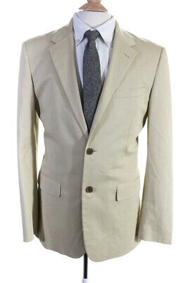 Theory Mens Two Button Notched Lapel Blazer Beige Cotton Size 40