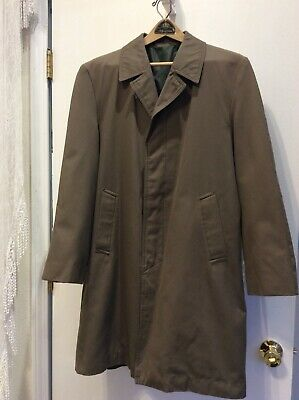 Vintage Dunn & Co. Mens Rain Coat Great Britain Sage Green Plaid Lining 38 Short