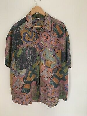 TARGET vintage silk ladies plus size 16 80's short sleeve button up retro shirt