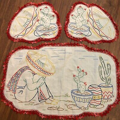 Vintage Hand embroidered Linen Doily Set 3 Mexican Cactus Red Linen Excellent