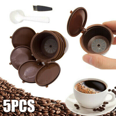 5Pc Refillable Coffee Capsule Cup Reusable Filter Pod For Dolce Gusto Nescafe UK