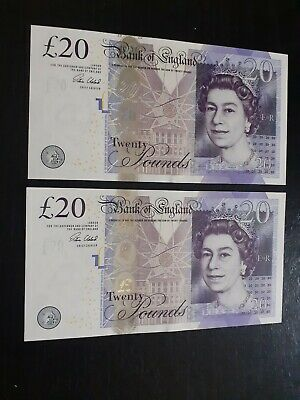 NEW CONDITION. Bank Of England £20 Adam Smith Banknotes. Consec.Numbers UNC.