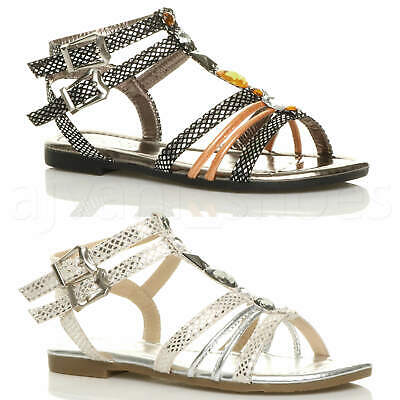 Womens Ladies Flat Strappy T-Bar Gladiator Ankle Strap Buckle Gem Sandals Size