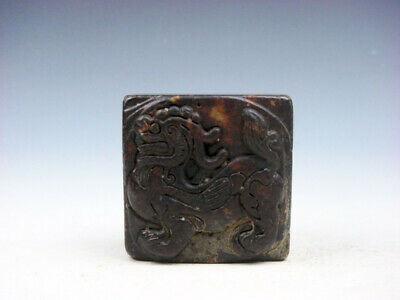 Old Nephrite Jade Stone Carved Seal Paperweight Standing FOO DOG LION #03132005