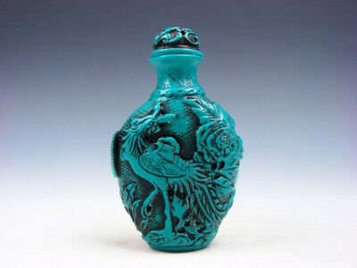 Turquoise Glazed Rabbits & Standing Phoenix Carved Snuff Bottle #03132001