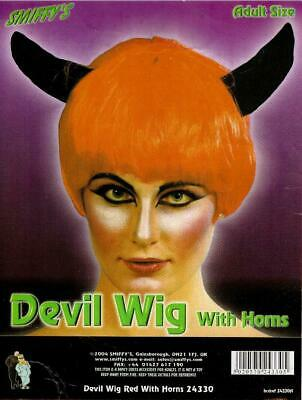 Smiffys Red Devil Wig With Black Horns
