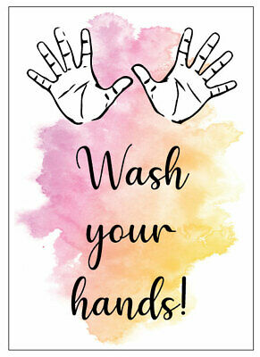 Wash Your Hands Sign Watercolour Splash Adhesive Sticker Bathroom Home Office