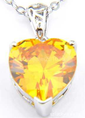 Natural heart-shaped yellow Topaz gemstone 925 silver Pendant Necklace