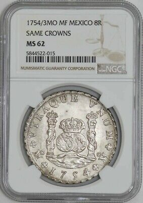 1754/3MO MF Mexico 8 Reales Same Crowns MS62 NGC 942376-1