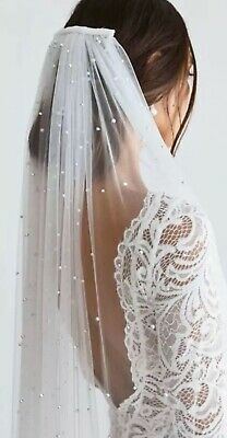 Bride Bridal Pearl Ivory Cathedral Veil 1 Tier Luxury Soft Tulle Cut Edge & Comb