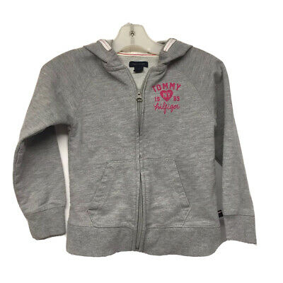 Tommy Hilfiger NY Girl/Hoodie/Sweatshirt Size 5/Full Zip/Grey With Fuscia Detail