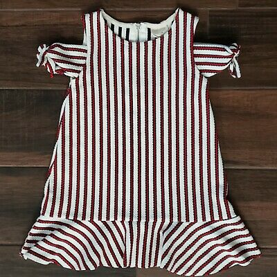Zara Girls Casual Collection Red White Black Striped Cold Shoulder Dress Size 4