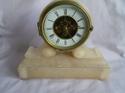 ALABASTER EUGENE FARCOT MANTEL CLOCK c1870 IN GOOD WORKING CONDITION + KEY