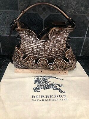 Burberry Bronze Metallic Ruched Leather Large Tote Shoulder Bag $2500 Retail