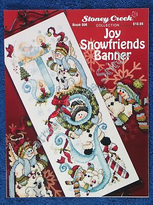 Christmas Cross Stitch Pattern Joy Snowfriends Banner Snowman Manger
