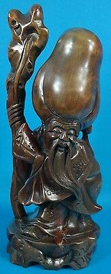 """Chinese Carved Wood Holding a Staff Bearded Immortal  Figurine 14 1/4"""" Tall"""