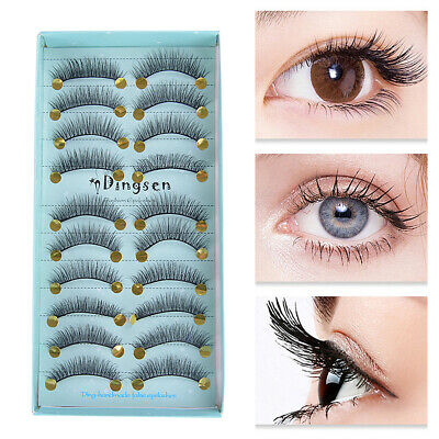 HOT 10Pair 3D Mink False Eyelashes Eye Lashes Wispy Cross Long Thick Soft Fake