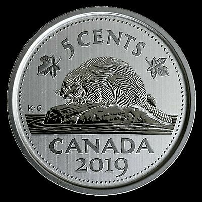 2019 Canada 5 cent coin Beaver logo --- Specimen finish -- coin only: from set